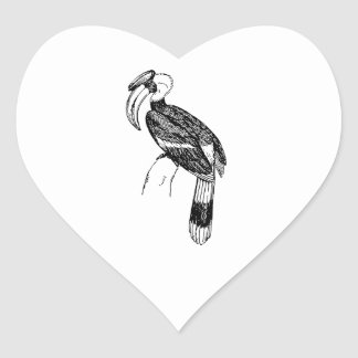 Hornbill Bird Art Heart Stickers