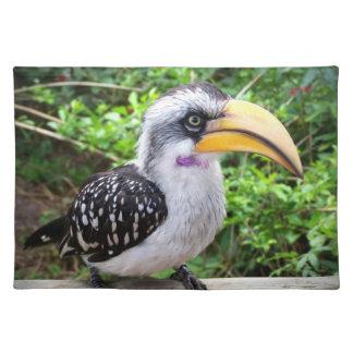 Hornbill bird close up looking at camera cloth placemat