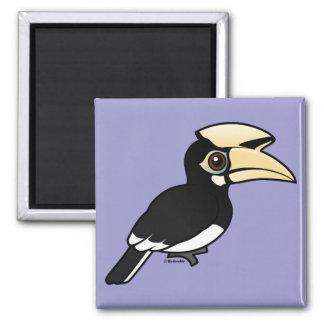 Hornbill de varios colores oriental imán cuadrado