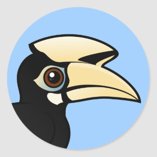 Hornbill de varios colores oriental pegatina redonda