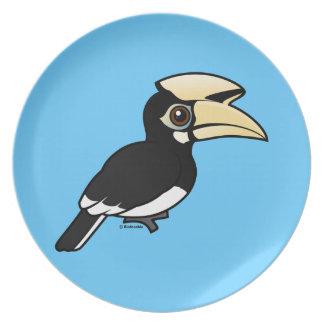 Hornbill de varios colores oriental plato de cena