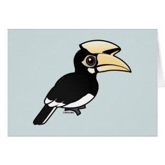 Hornbill de varios colores oriental tarjeta de felicitación