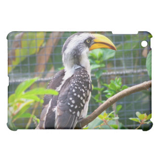 hornbill on perch in green plants iPad mini cases