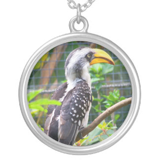 hornbill on perch in green plants personalized necklace