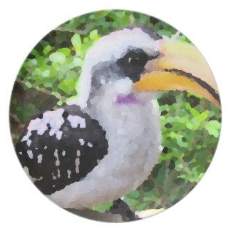 hornbill painting bird sideways plates