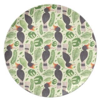 Hornbill the Tropical Bird Melamine Plate