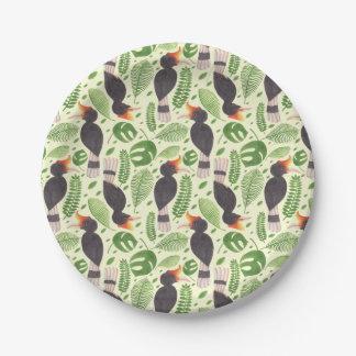 Hornbill the Tropical Bird Paper Plate