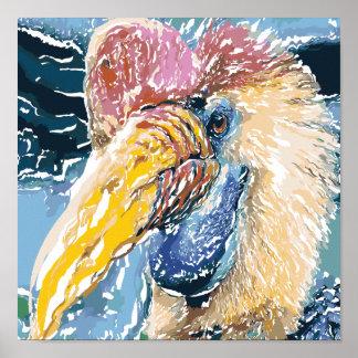 Hornbill Tropical Bird Abstract Art Small Poster