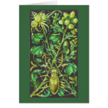 Horned Beetle in Gold and Green Vintage Print Greeting Card
