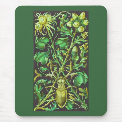 Horned Beetle in Gold and Green Vintage Print Mouse Pad