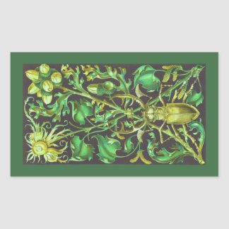 Horned Beetle in Gold and Green Vintage Print Rectangular Sticker