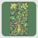 Horned Beetle in Gold and Green Vintage Print Stickers