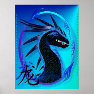 Horned Black Dragon and Symbol Posterr Poster