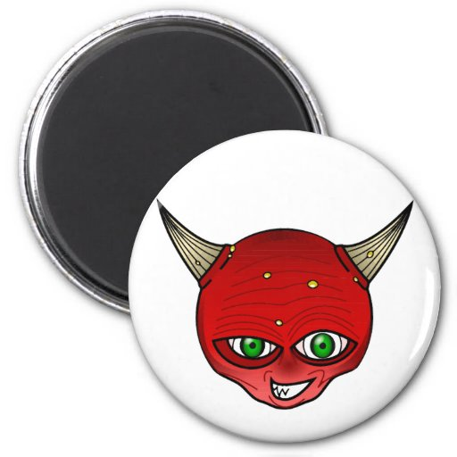 Horned demon 2 inch round magnet