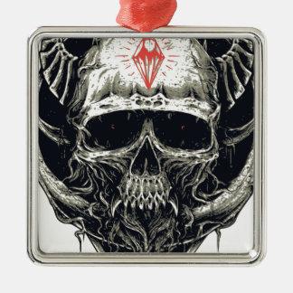 Horned Devil Skull Metal Ornament