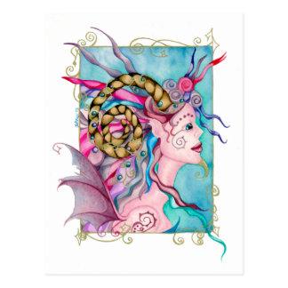 Horned Dorea Fairy Faun Fantasy Painting Postcard