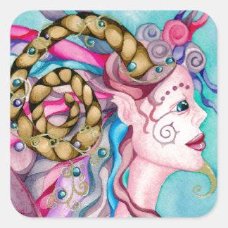 Horned Dorea Fairy Faun Fantasy Painting Sticker