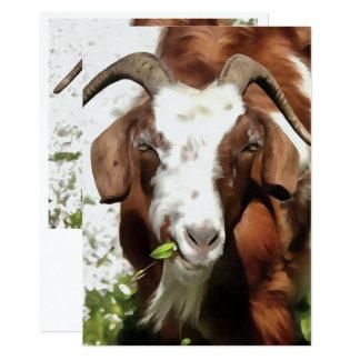 Horned Goat Grazing Card