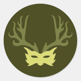 Horned God Mask Classic Round Sticker