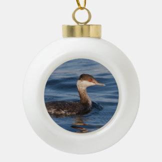 Horned Grebe Ceramic Ball Christmas Ornament