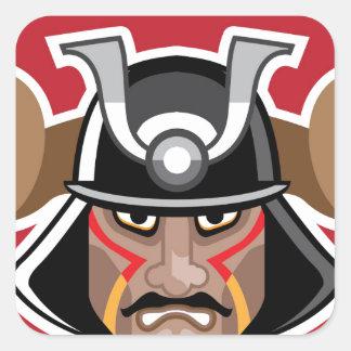 Horned Helmet on asian warrior Vector Square Sticker