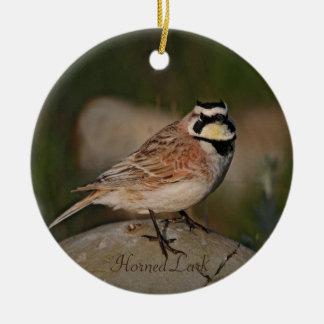 Horned Lark Bird Photography Round Christmas Tree Ornament
