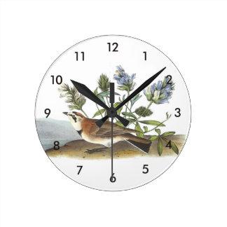 Horned Lark by Audubon Round Wallclock