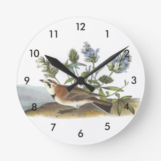Horned Lark by Audubon Round Clock