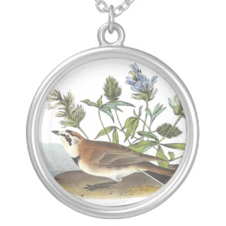 Horned Lark, John Audubon Round Pendant Necklace