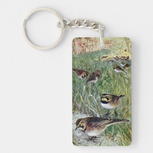 Horned Larks in a Meadow Single-Sided Rectangular Acrylic Keychain
