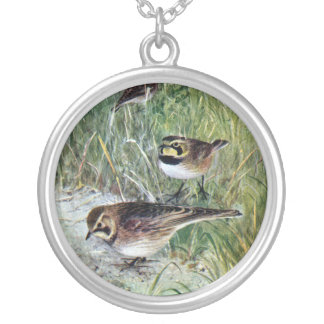 Horned Larks in a Meadow Round Pendant Necklace