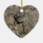 Horned Lizard Double-Sided Heart Ceramic Christmas Ornament