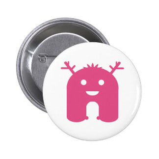 Horned Monster! - Pink 2 Inch Round Button