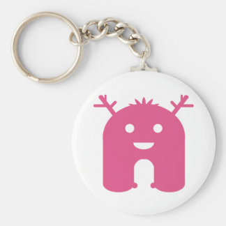 Horned Monster! - Pink Basic Round Button Keychain