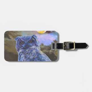 Horned Owl at Night Acrylic Painting Luggage Tag