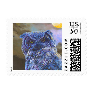 Horned Owl at Night by Steve Berger $0.49 Stamp