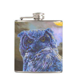 Horned Owl at Night Original Painting Flask