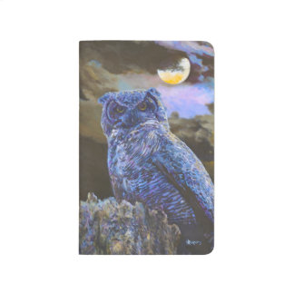 Horned Owl at Night Painting Pocket Journal