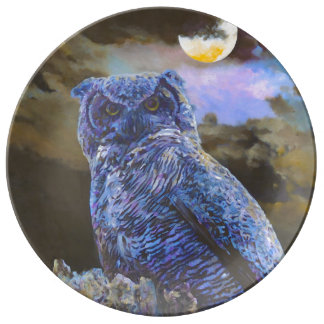 Horned Owl at Night Painting Porcelain Plate