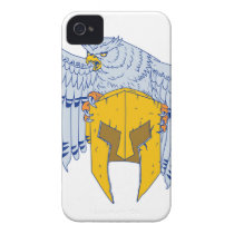 Horned Owl Clutching Spartan Helmet Drawing Case-Mate iPhone 4 Case