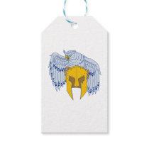 Horned Owl Clutching Spartan Helmet Drawing Gift Tags