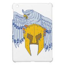 Horned Owl Clutching Spartan Helmet Drawing iPad Mini Case