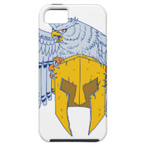Horned Owl Clutching Spartan Helmet Drawing iPhone SE/5/5s Case