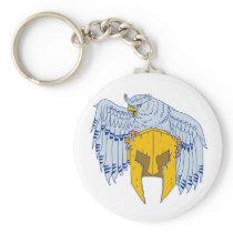 Horned Owl Clutching Spartan Helmet Drawing Keychain