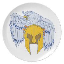 Horned Owl Clutching Spartan Helmet Drawing Melamine Plate