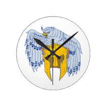 Horned Owl Clutching Spartan Helmet Drawing Round Clock