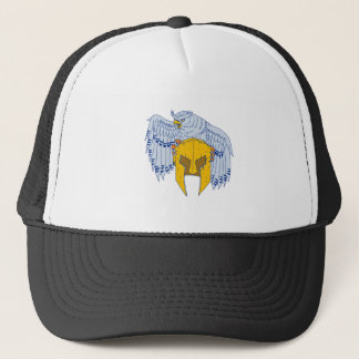 Horned Owl Clutching Spartan Helmet Drawing Trucker Hat
