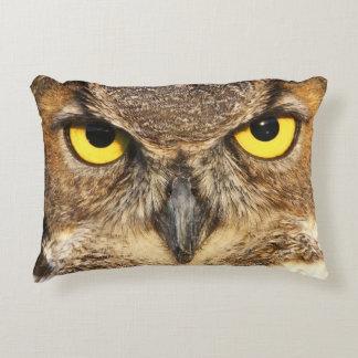 Horned Owl Face Accent Pillow