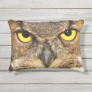 Horned Owl Face Outdoor Accent Pillow