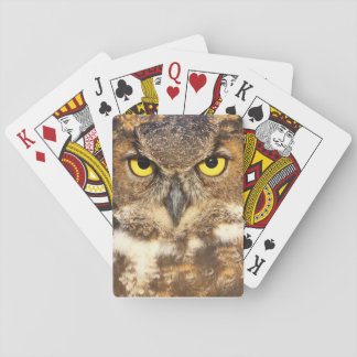 Horned Owl Face Playing Cards